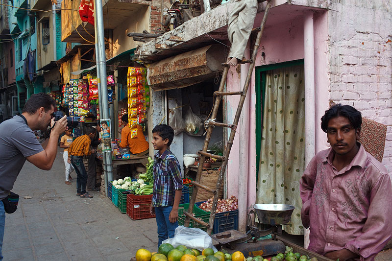 Travel and street photography participant Alex takes photographs in Nizamuddin area of Delhi, India.