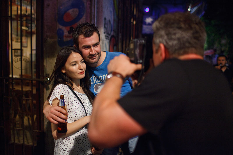Gareth photographs a young couple on a Friday night in Beyoglu, Istanbul.