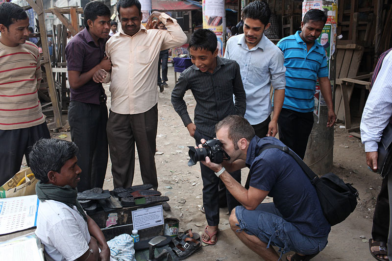 Adam Constantine shoots on the street in Motijheel, central Dhaka.